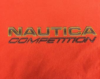 NAUTICA Competition T-shirt Orange VTG 100% Cotton 2XL Made in USA
