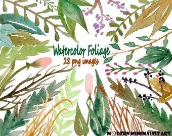 Watercolor Foliage Clipart Green – 28 PNG Images