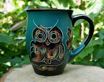 Large coffee mug Ceramic mug Owl Gift for father Coffee cup Brother gift Mom gift Husband gift Daughter gift Green Owls mug Office gift