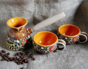 Housewarming-gift-Winter-gifts-Turkish-coffee-set-Coffee-pot-ceramic-and-two-small-coffee-cups-Wedding-gift-for-bride-present-for-mom-gifts