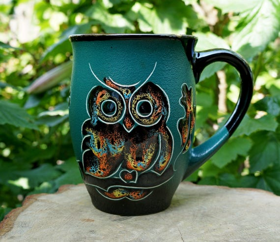 Large coffee mug Ceramic mug Owl Gift for father Coffee cup Brother gift Mom gift Husband gift Daughter gift Green Owls mug Office gift