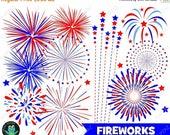 75% OFF SALE Fireworks Clipart, Independence Day, 4th of July, Patriotic Fireworks, Commercial Use, Digital Images - UZ932