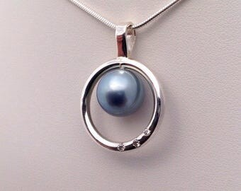 Free Shipping! Tahitian South Sea Pearl 11mm AAA set on a 925 Sterling Silver Pendant & Necklace