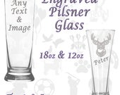 Personalised Engraved Pilsner Lager Beer Glass ANY Text or Image. 12oz & 18oz