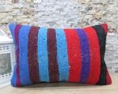 multi color vintage kililm pillow 16x23 couch pillow home decor tribal pillow decorative pillow kilim Cushion Rustic Pillow
