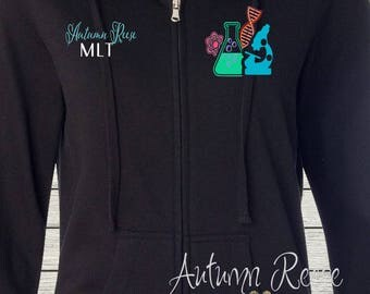 Monogrammed Ladies/Unisex Full-Zip Hooded Sweatshirt Laboratory Technician Customized Personalized XS - 5XL Jacket