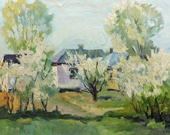 SPRING RURAL LANDSCAPE Original Oil Painting by Zakharova L. 1973 Ukrainian Impressionist Art, Countryside view Garden in blooming, Handmade