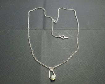 Silver chain necklace with a square Crystal