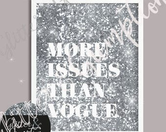 Silver Faux glitter background  more issues than vogue fashion print