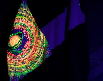 UV light, glow in the dark, psychedelic, Goa party pants, shorts, Festival clothing, psy, psy art