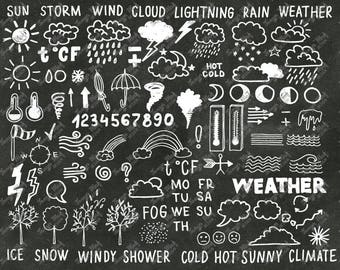 Hand Drawn Doodle Weather Clipart, Weather Photoshop Overlay, Vector Clipart, Hand Drawn Overlays,Digital Photoshop Brushes, Weather Clipart