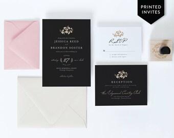 Black and Blush Invitations - Glam Wedding Stationery Package - Floral Winter Wedding Invitation - Black Wedding Suite - Chic Wedding -