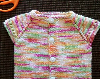 Hand knitted baby sweater, size 0-3 months, multicolor, for girls