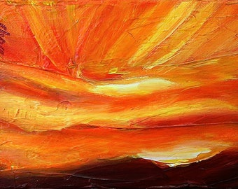 Rays of Sunlight Red Sky II, original acrylic painting on canvas, 7 x 5