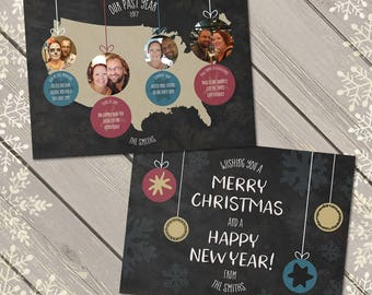 Photo Card Christmas, Year in Review, Custom Xmas Card, Family Holiday Card, Digital Card Printable Download Chalkboard Baubles Personalised