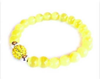 Yellow Cat's Eye Beaded Bracelet