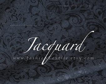 Solid Black Jacquard Damask Fabric by metre/ yard