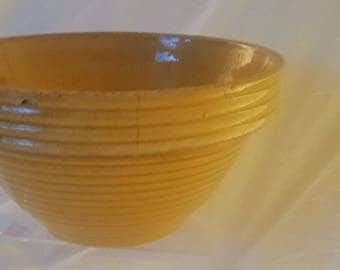 Vibrant Vintage Yellow Ringware Ceramic Mixing Bowl with thick Rim- McCoy?
