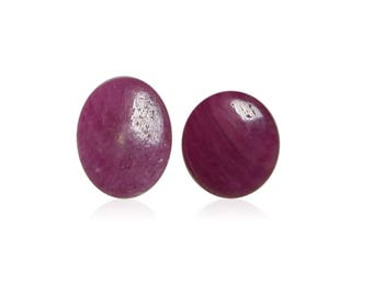 2 Pieces Natural Untreated Ruby | Unheated Ruby Cabochon | Ruby Cabochon | Natural Ruby Oval Cabochon | 6 CTS Ruby Gemstone Jewelry making