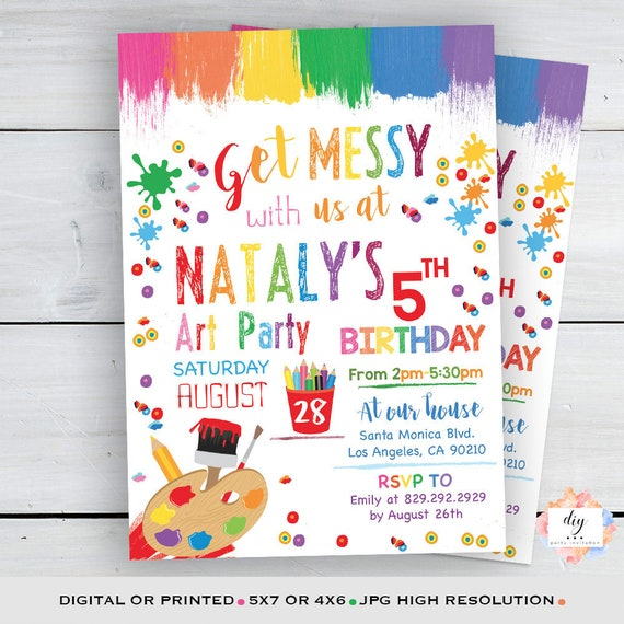 Painting Party Invitation Art Party Invitation Pastel colors