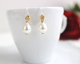 Akoya Baroque Pearl, Invisible Clip On, Non Pierced Earrings, Comfortable Clip On, Non pierced Pearl, Bridal Pearl Clip On, Formal Pearl