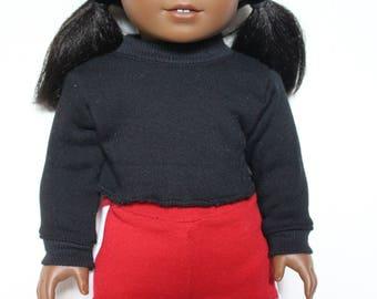 Black High Neck Raw Hem Sweatshirt for Dolls - Fits American Girl Doll