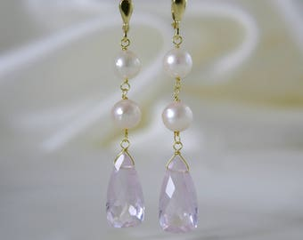 Zartcreme Rosé Akoya pearls with morganite pink quartz earrings 8 karat gold or gold plated