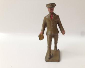 Vintage Lincoln Log Metal Toy Soldier ~ Mailman
