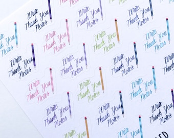 F144--Write Thank You Notes Planning Stickers for the Erin Condren or Happy Planner. Gingham pencil southern note card