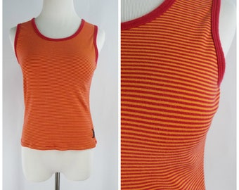 Vintage Womens 1990s Dark Pink and Orange Stripe Sleeveless Cotton Tank Top | Size S/M