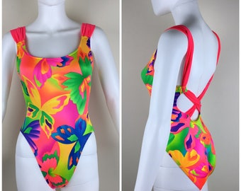 Vintage Womens 1980s Bright Neon Tropical Print One Piece Swimsuit | Size XS