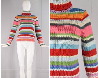 Vintage Womens Gap Rainbow Stripe Chunky Knit Turtleneck Wool Blend Long Sleeve Sweater | Size XS/S