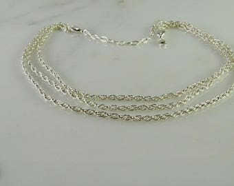 """Lovely Three Strand Sterling Silver Necklace 16""""-20"""" adjustable"""