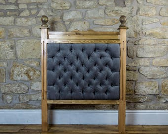 Handmade rustic wooden headboard with upholstered panel
