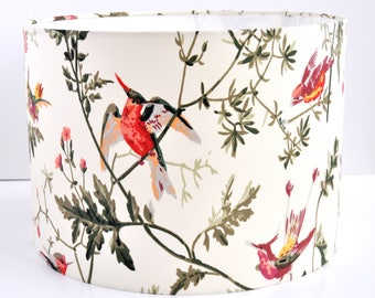 Lampshade In Cole and Son bird fabric  shade drum shade pendant shade