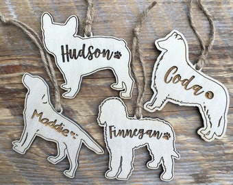 Custom Engraved Ornament, Laser Engraved Dog, Pet Memorial, Christmas Gifts, Rustic Xmas Tree, Woodland Xmas Tree
