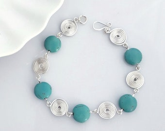 Turquoise and Silver Spiral bracelet handcrafted Celtic spiral design womens wedding jewellery spirals gifts for mum Mother's day gifts