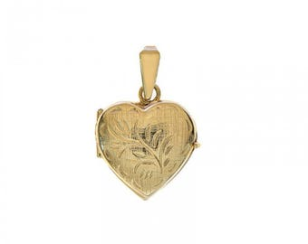 14k Yellow Gold Floral Engraved Heart Made In Italy Locket Charm