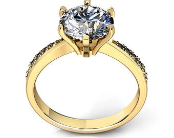 2.00 carat Round Cut Simulated Diamond Engagement Ring 14K Yellow Gold