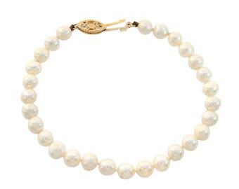 5.5 mm Freshwater Pearl Bracelet 14K Yellow Gold Lock