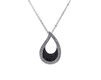 "0.40 Carat Black and White Diamond Drop Pendant Necklace 16"" 10K White Gold"