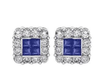 0.45 Carat Sapphire & 0.75 Carat Diamond Stud Earrings 14K White Gold