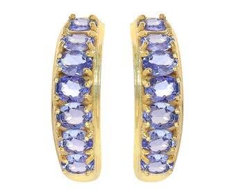 1.50 Carat Oval Cut Tanzanite Stud Earrings 14K Yellow Gold