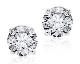 2.15 Carat Round Brilliant Cut Diamond Stud Earrings F-G/SI1 14K White Gold