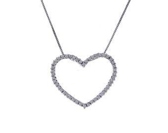 0.35 Carat Diamond Heart Pendant Necklace 10K White Gold