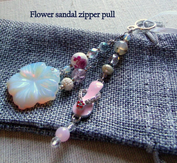 Flip flop charm zipper  pull - pink spa gift -   home decor - drawer pull ornament - party favors - girl night out - gem flowers - Valentine