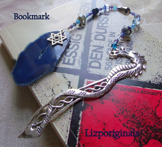 12 inch long silver dragon bookmark - Judaic charm - Star of David - Jewish gift - blue agate geode slice - viking - beaded gemstone gift