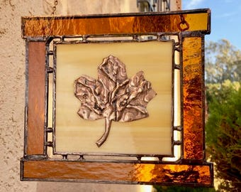 Stained Glass Window Hanging - Copper Ginkgo Leaf and Transparent Brown Border