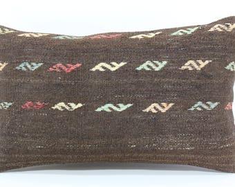 Naturel Kilim Pillow Boho Pillow Sofa Pillow 12x20 Decorative Kilim Pillow Ethnic Pillow Ethnic Pillow Throw Pillow Cushion Case SP3050-1002