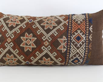 12x24 Anatolian Kilim Pillow Embroidered Kilim Pillow 12x24 Handwoven Kilim Pillow Throw Pillow Lumbar Kilim Pillow Cushion Cover SP3060-861